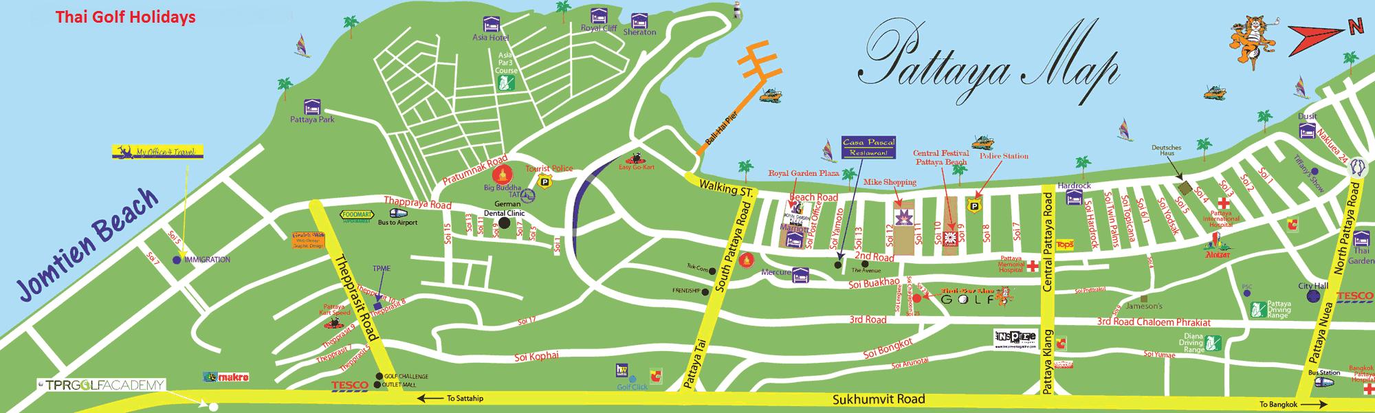 Map of Pattaya – Thai Golf Holidays